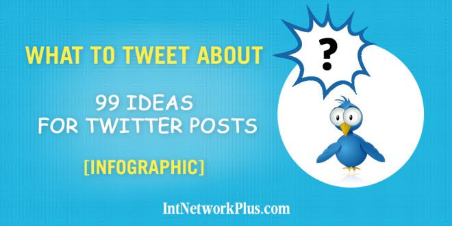 What to tweet about: 99 ideas for twitter posts infographic. #socialmedia #socialmediatips #socialmediamarketing #smm #socailmediastrategy #creativeentrepreneur #twitter