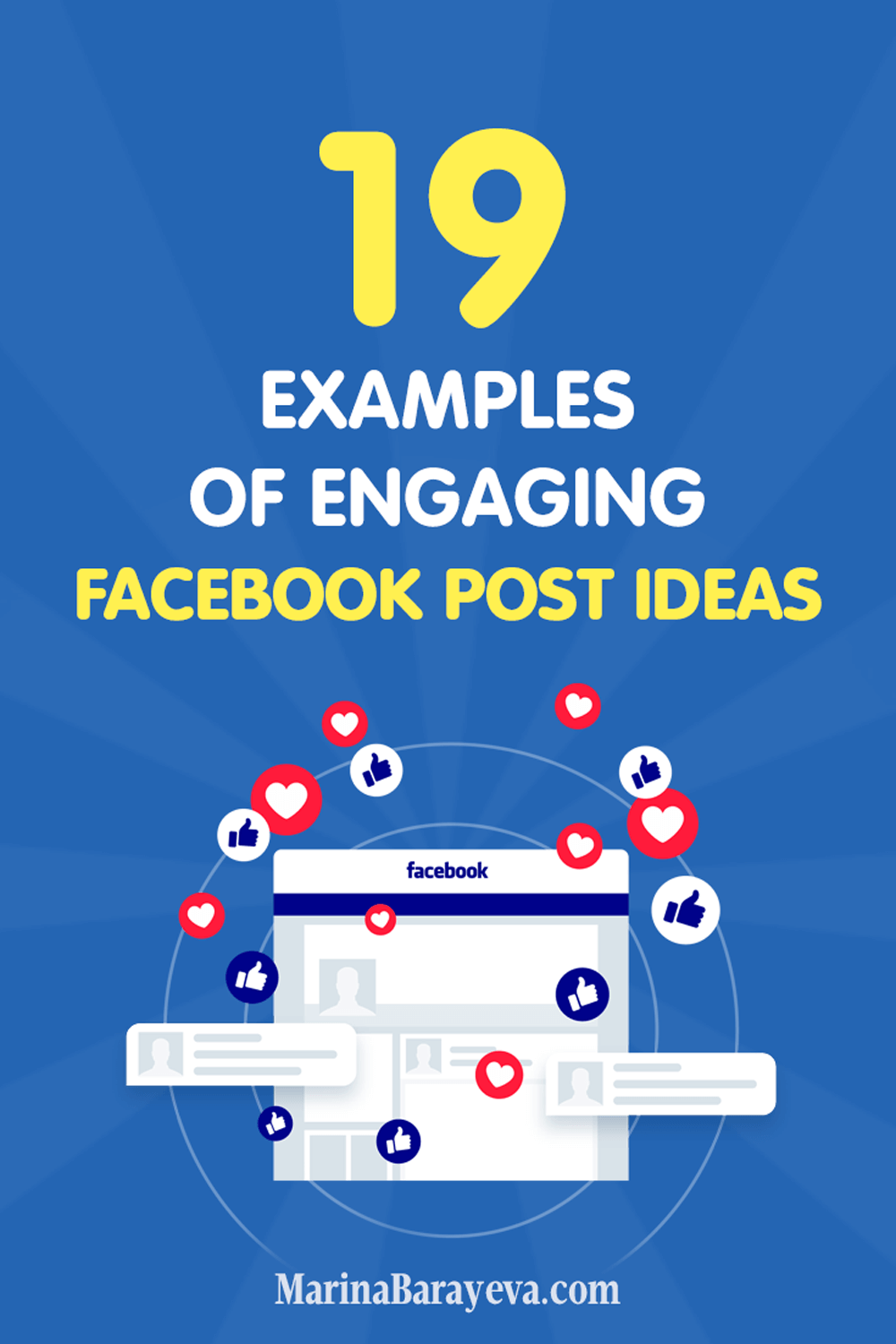 Check these 19 examples of Facebook post ideas to help you to connect with your audience via interesting posts about your industry. A regular Facebook post has text status update, video, photo or links. Pictures and videos get more likes and shares than only text, so implement them more, via @MarinaBarayeva. #socialmedia #socialmediatips #socialmediamarketing #smm #socailmediastrategy #creativeentrepreneur #facebook