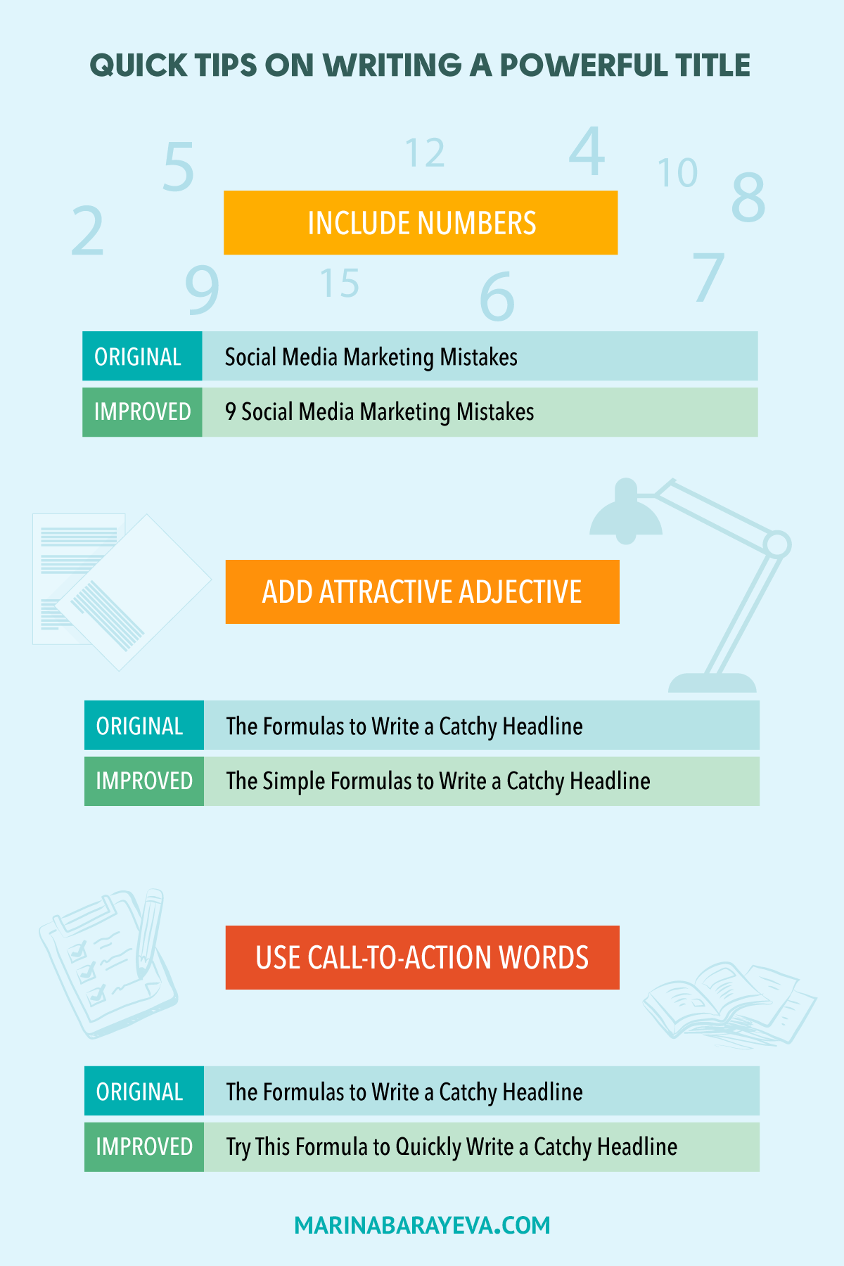 Looking for an easy way to write an attractive title for your blog post or article? Here are the quick tips on writing a powerful title. They will help you easily to write an attractive title for a blog post or social media message. #blogging #contentmarketing #bloggingtips #creativeentrepreneur #socialmedia #socialmediatips #socialmediamarketing #smm #copywriting #writing