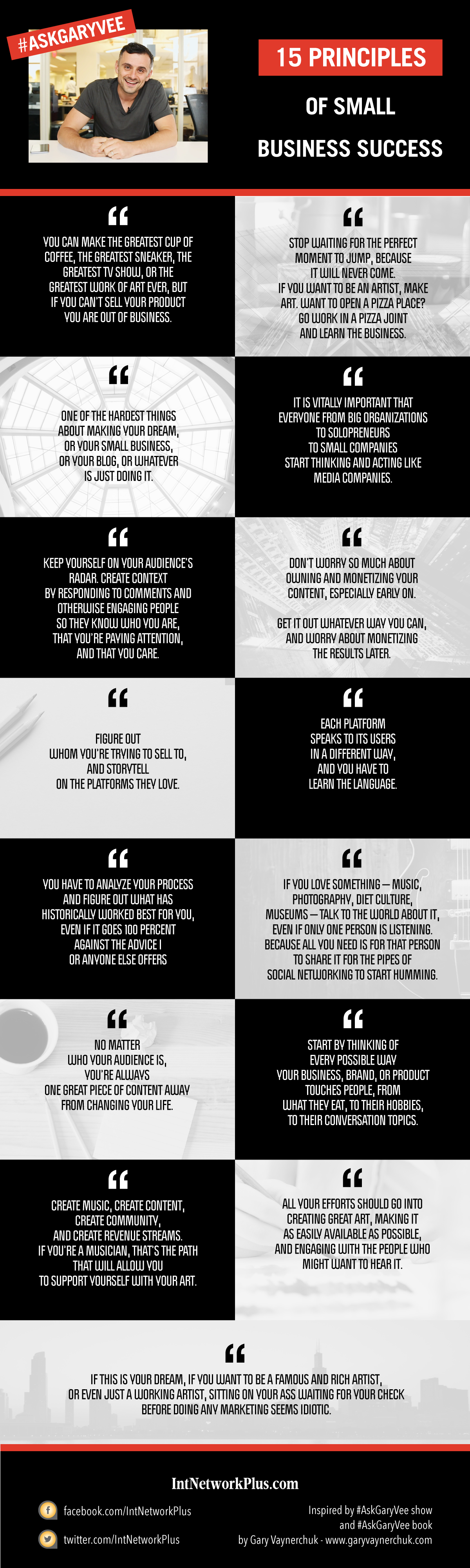 It can be tough to build a small business if you are starting from the nothing. Here are 15 small business tips on being successful as a creative entrepreneur from Gary Vaynerchuk, author of the #AskGaryVee show. #business #smallbusiness #smallbiz #entrepreneur #entrepreneurship #businesstips #marketing #creativeentrepreneur #businessquotes #inspirationalquotes #quotes #quotesoftheday #motivationalquotes #inspiration #motivation