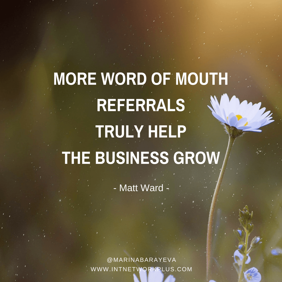 Word of mouth is still on top of marketing. It's always great when another person talks about your business and refer clients to you. But have you thought, that you can actually affect and improve your word of mouth strategy and get more referrals? Via @MarinaBarayeva. #business #smallbusiness #entrepreneur #creativeentrepreneur #creativebusiness #mompreneur #womaninbiz #ladyboss #quotes #quotesoftheday #inspiration #Inspirationalquotes #businessquotes