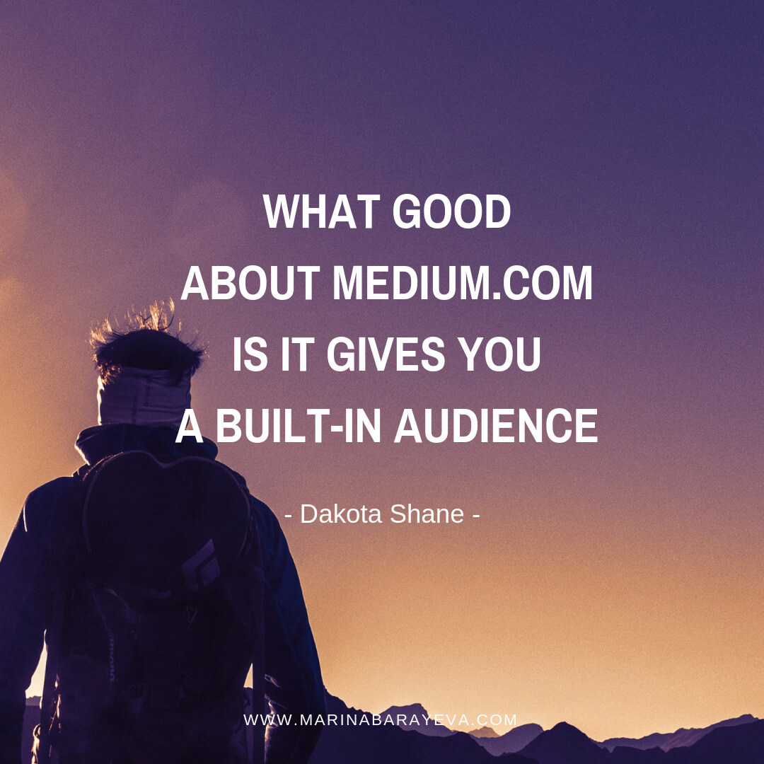Learn how to build your audience and email list with Medium articles. Medium.com is the platform similar to your blog, but it has many other publishers where you can submit your posts. Also, you can publish articles that you wrote on other sites. Writing on Medium will help faster grow your audience. Via @MarinaBarayeva. #business #smallbusiness #entrepreneur #creativebusiness #mompreneur #womeninbusiness #ladyboss #quotes #quotesoftheday #businessquotes