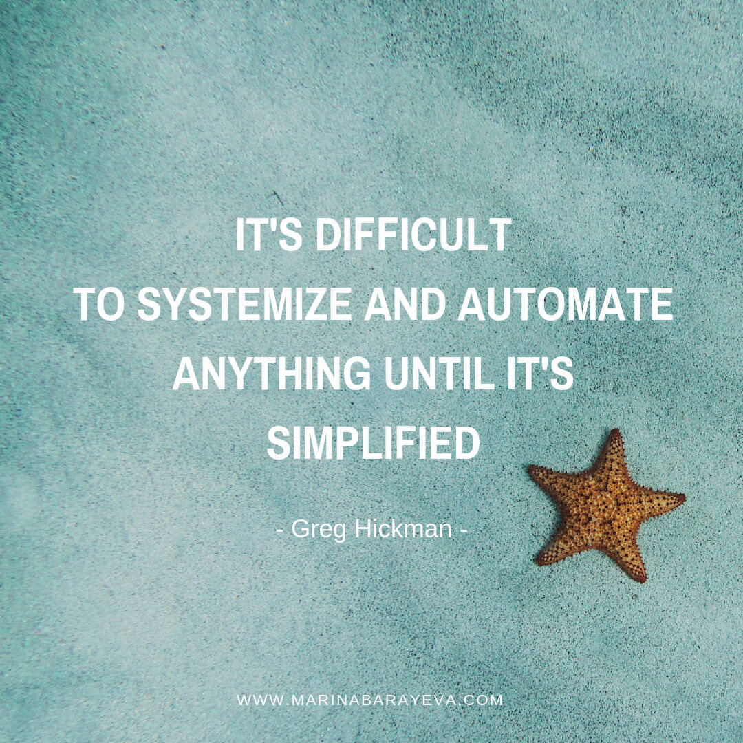 Having a business is a challenge as you need to do a lot of different work as an entrepreneur. Let's make your business processes more effective by simplifying it. Once you've done that, you can automate your business in many areas, via @MarinaBarayeva. #business #smallbusiness #entrepreneur #creativebusiness #mompreneur #womeninbusiness #ladyboss #quotes #quotesoftheday #businessquotes